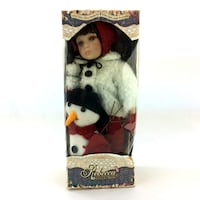 Rebecca Mamoure Porcelain Doll & Snowman Elby Canada Vintage Winter Collection Niagara Regional Municipality