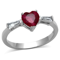 1ct Red Heart Wedding Engagement Bridal Anniversary CZ Sterling Silver Ring SIZE 7 Ottawa