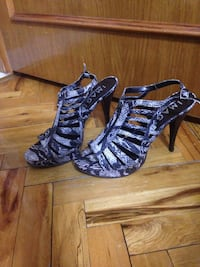 Grey and black snake skin strappy sandals