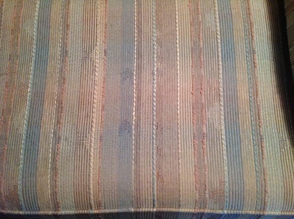 Pleasing Blue Peach And Cream Colored Striped Fabric Sofa Pabps2019 Chair Design Images Pabps2019Com