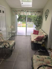 Patio set, padded, couch, two chairs, two tables with two lamps. Matching window treatments. Worcester, 01604