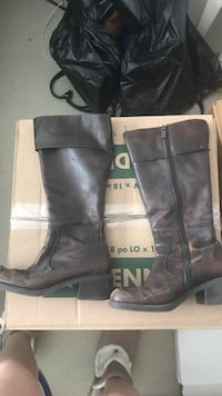 Brown leather boots- size 7