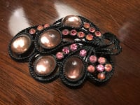Vintage Pink Glass and Black Metal Brooch with Rhinestones
