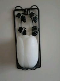 SET OF 2 WROUGHT IRON CANDLE HOLDERS WITH CANDLES