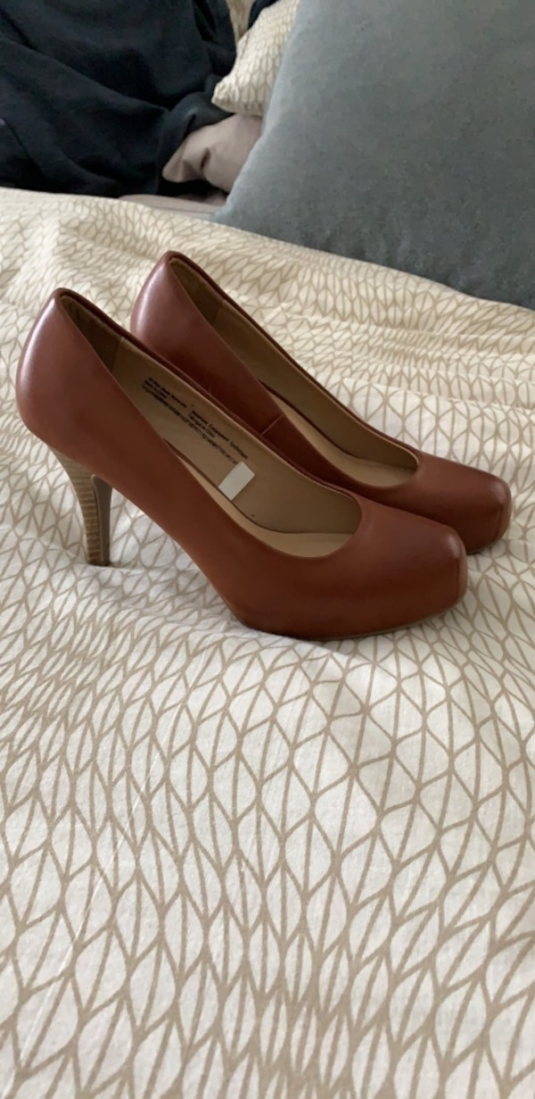 Brown leather heels