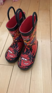 Pair of black-and-red lightning mcqueen wellington boots