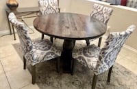 "Like new pewter/brown 48"" round table with fabric damask Print chairs Las Vegas, 89138"