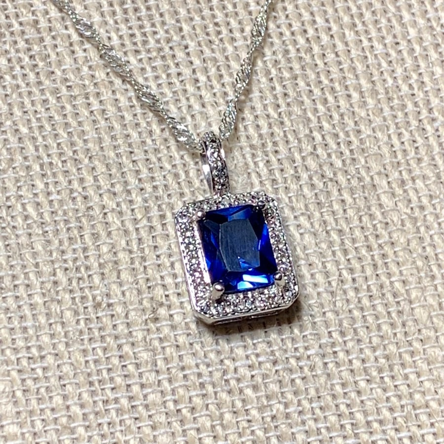 Genuine Sterling Silver Sapphire Halo Pendant with Sterling Chain
