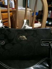 monogrammed black Coach leather tote bag Perry, 31069