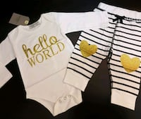 """Gold """"Hello World"""" Outfit (0-3 Months); Brand New  Bradford West Gwillimbury, L3Z 2A5"""