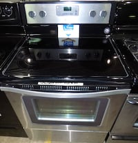 Black glass top electric stove - 1 year warranty!!! null