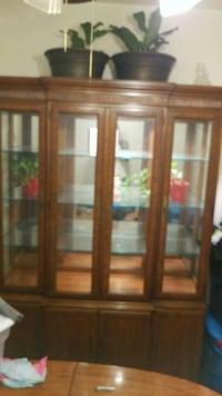 brown wooden framed glass display cabinet Baltimore, 21229