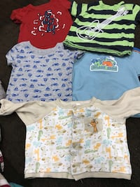 Pair of 5 t-shirts for baby boy 0-3 month very good condition  Vaughan, L6A 3A4