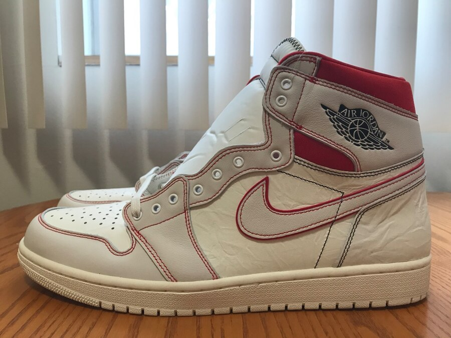 Photo Nike Air Jordan 1 Retro High OG Phantom Sail Red Black Men's Size 15