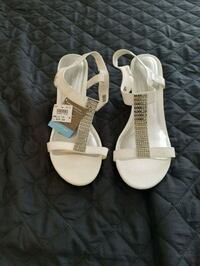 12W, Womens Sandals, White, Bling on Straps