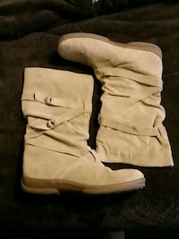 pair of brown suede wide-calf boots