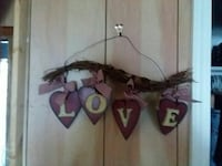 brown Love heart embellished wall decor
