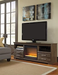 Frantin Brown TV Stand with Glass/Stone Fireplace Insert | W129-68 Houston, 77036