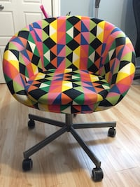 green, red, and yellow moon chair