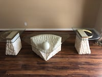 three clear glass top TV stand