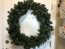 Large Christmas Wreath - includes 2 strings of battery operated lights