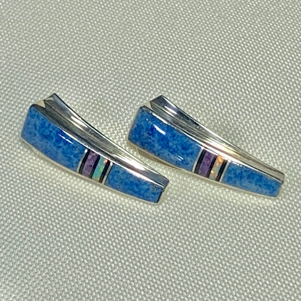 Genuine Navajo Mosaic Sterling Silver Lapis Opal Sugilite Earnings 0
