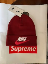 red and white Supreme knit cap New York, 11364