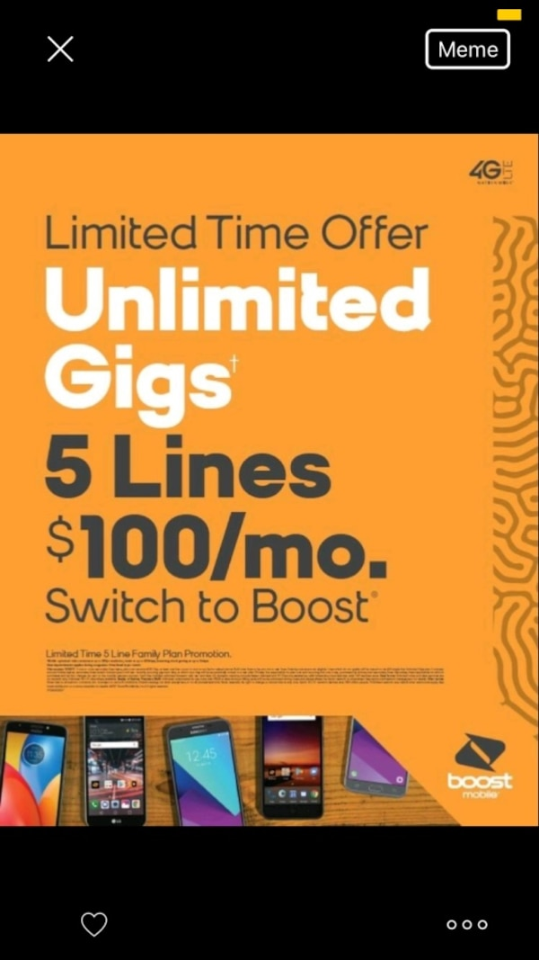 5 lines for only 100$ at Boost Mobile in Harrisonburg !