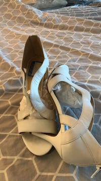 pair of white leather peep-toe ankle strap heels Germantown, 20876
