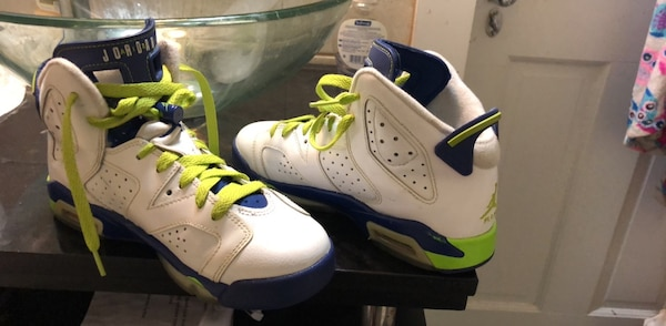 White-and-blue air jordan 6 shoes