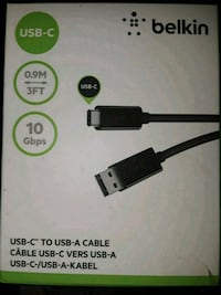 black Belkin USB-C two USB-A cable box