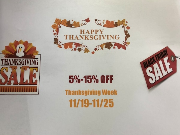THANKSGIVING SALE!! Take 5% to 15% OFF!!