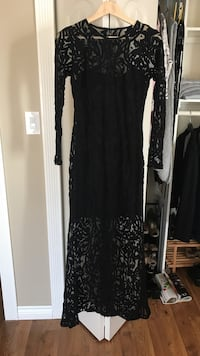 Black floral long-sleeved dress with the short dress under