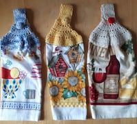 """NewHandTowelsHanging with 7"""" Crafted Crochet Tops  These are n Newmarket"""