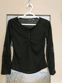 New Thin black shirt size xs with lace on sleeves  Calgary, T2E 0B4