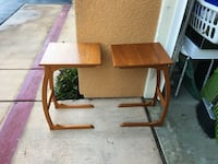 """Pair of Antique Vintage Mid Century Danish Modern Teak TV Dinner Writing Table. Made in Denmark by FBJ Mobler. Approx dimensions: 15"""" x 12"""" x 22""""H. San Marcos, 92078"""