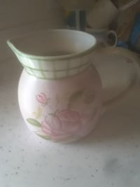 pink, white, and green floral ceramic pitcher North Las Vegas, 89031