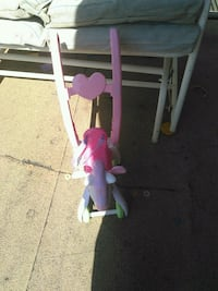pink and white plastic swing chair Tulsa, 74120