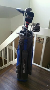 gray golf club set with blue and black Cobra golf bag
