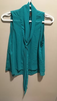 teal cowl-neck sleeveless top
