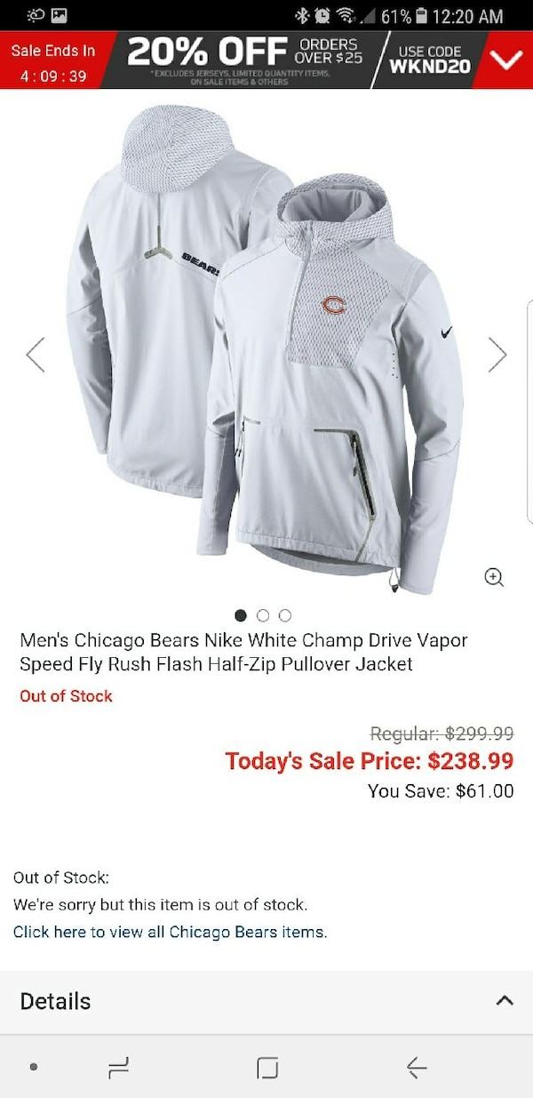 new product 8093c 3d6dd Chicago Bears Jacket Nike Half-Zip Pullover