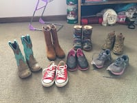 Youth sizes 11-13 justin boots, sketchers, converse and under amor tennis shoes