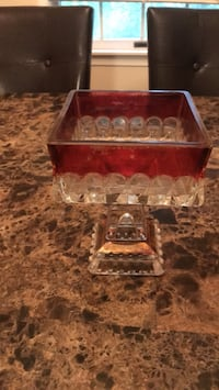 Red depression glass candy dish Point Of Rocks, 21777