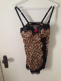 black and brown leopard-print spaghetti strap top Trenton, K8V