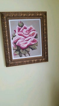 framed painting of pink rose flower Montréal, H3R 2E6
