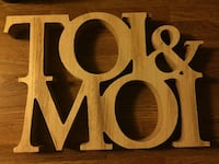 NEW TOI & MOI wooden sign MDF 30 x 20 x 3 cm Oakville