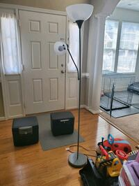 Grey tall stand up lamp with 2 bulbs