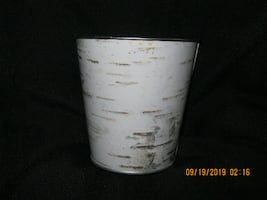 "5"" x 4-3/4"" Diam. Birch Tree Look Metal Plant Pot for Christmas Floral Arrangement * Pencil Holder * Garden Cutlery Holder"