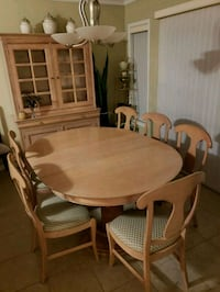oval brown wooden dining table with six chairs set Burlington, L7L 0A2
