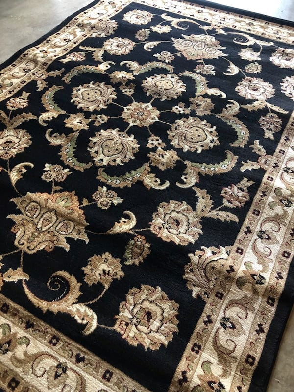 New black rug size 5x7 nice carpet traditional design rugs 3674be95-8cdd-4389-bf96-a2815737f81f